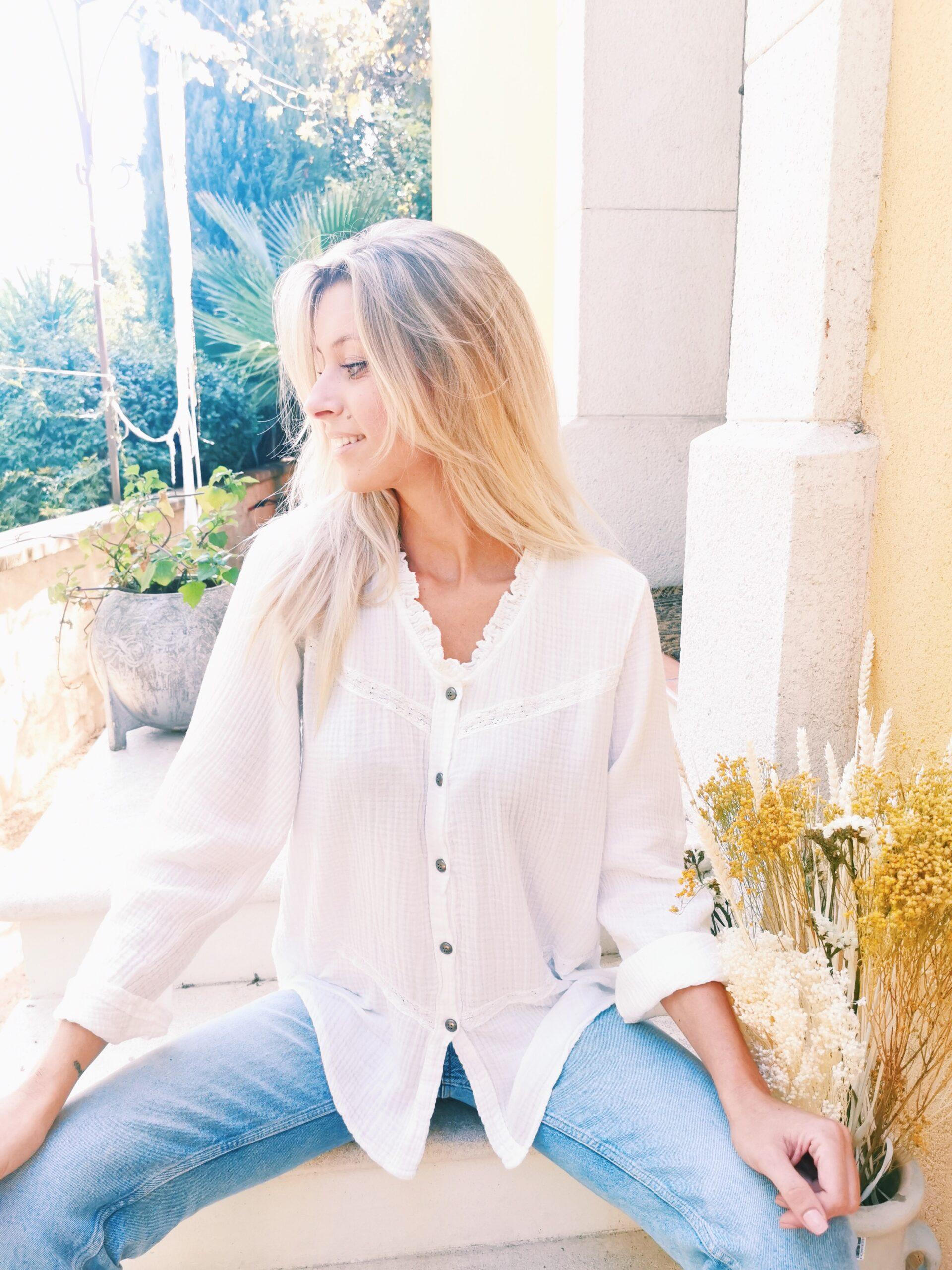 Chemise blanche en coton de gaze taille unique