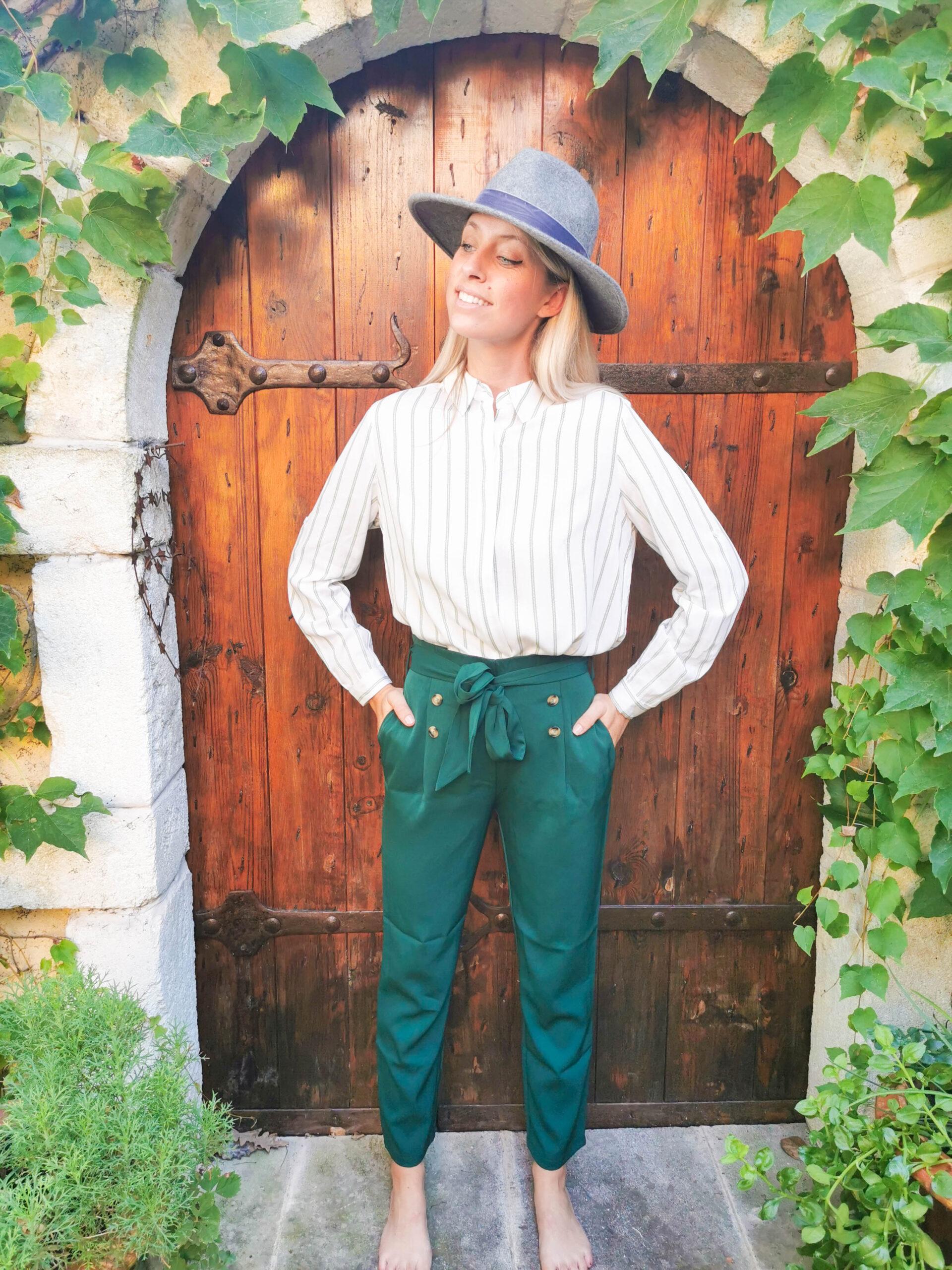 Pantalon taille haute vert