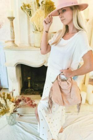 Jupe blanche Emily à paillettes