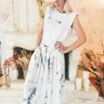 Jupe en soie tie & dye couleur marbre gris