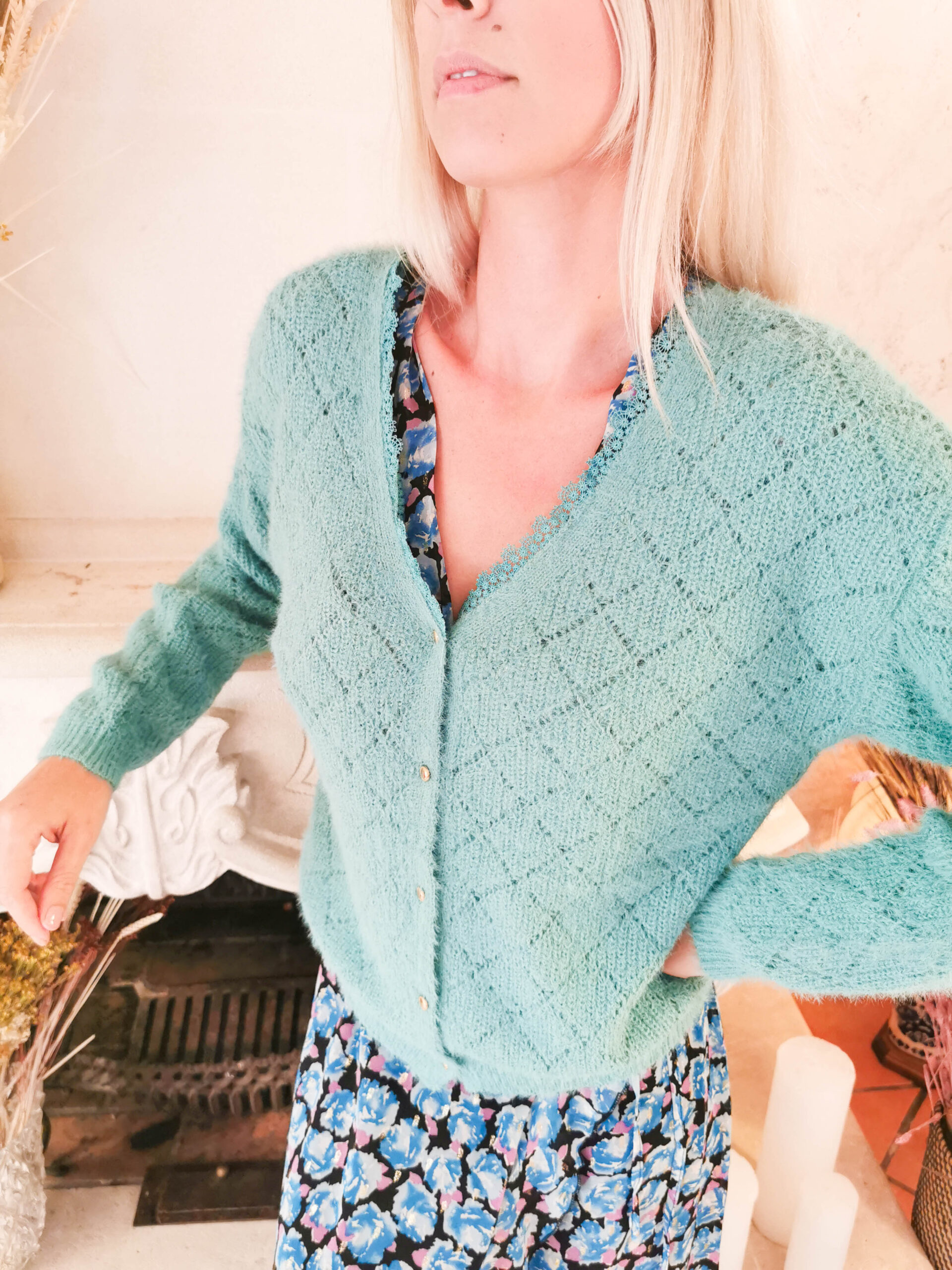 Pull gilet turquoise