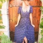 Robe longue bleu marine à paillettes
