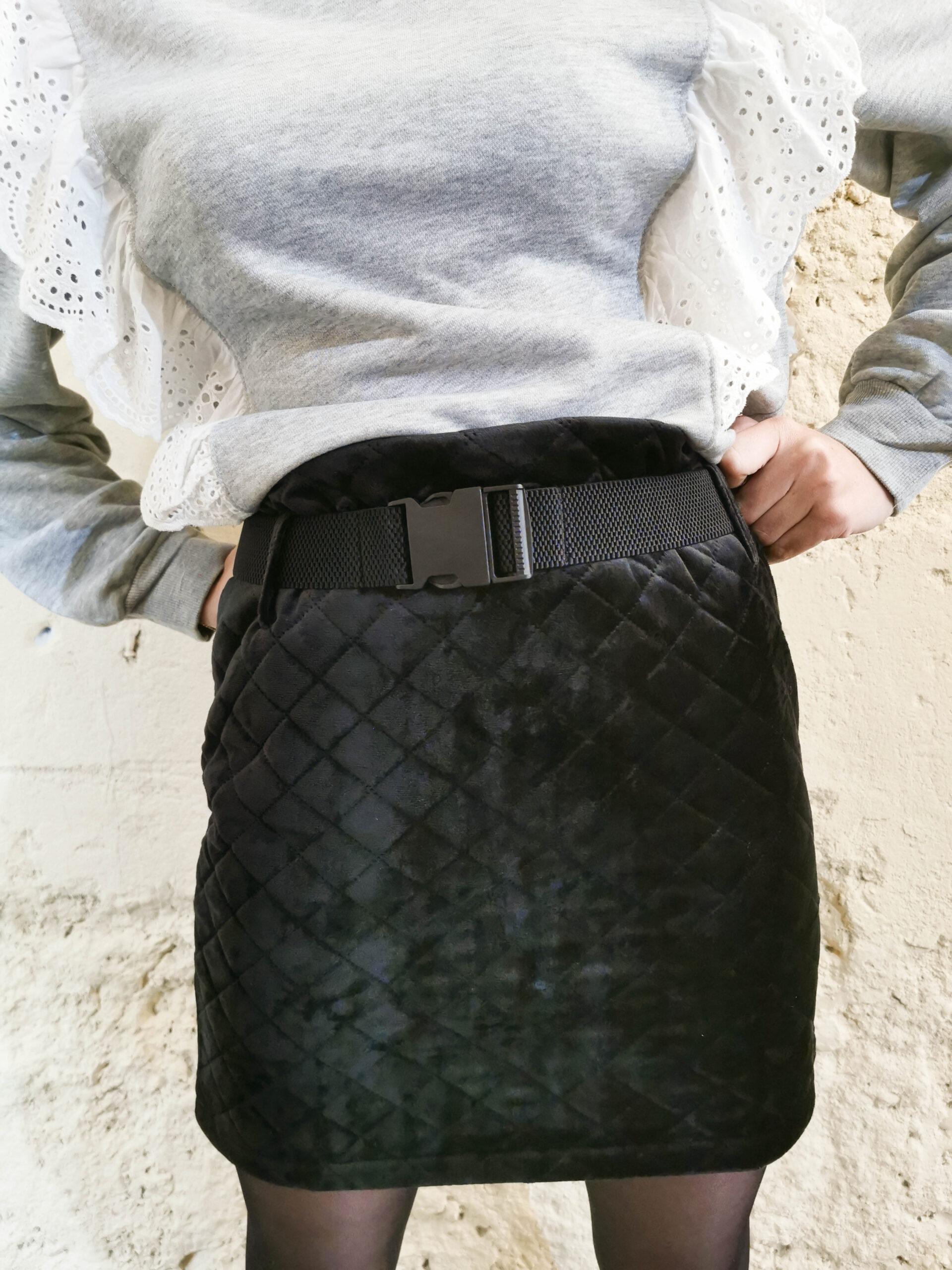 Jupe courte matelassée noire